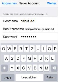 Server für ausgehende E-Mails