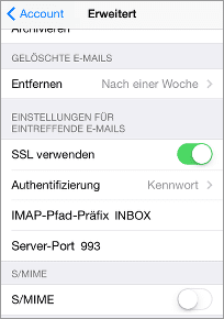 Einstellungen für IMAP: SSL verwenden: ja,  IMAP-Pfad-Präfix: INBOX,  Server-Port: 993