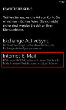 Windows Phone 8: Kontoart wählen